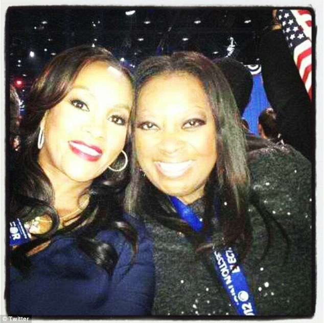 Big fans: TV personality Star Jones (right) and actress Vivica A. Fox (left) posted a Twitter photo of themselves at President Obama's victory rally