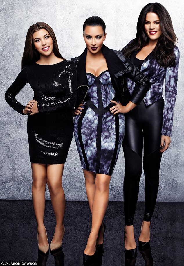 Sister act: Kourtney, Kim and Khloe Kardashian model clothes from their Dorothy Perkins line