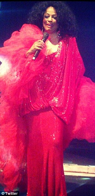 Diva: Diana Ross hits the stage in a wonderfully opulent red gown