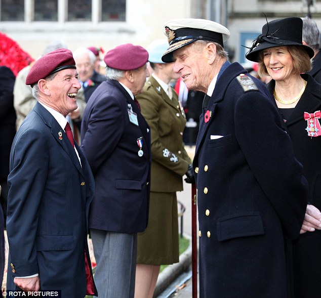Sharing a joke: Prince Philip spoke with war veterans, British Legion members and current servicemen