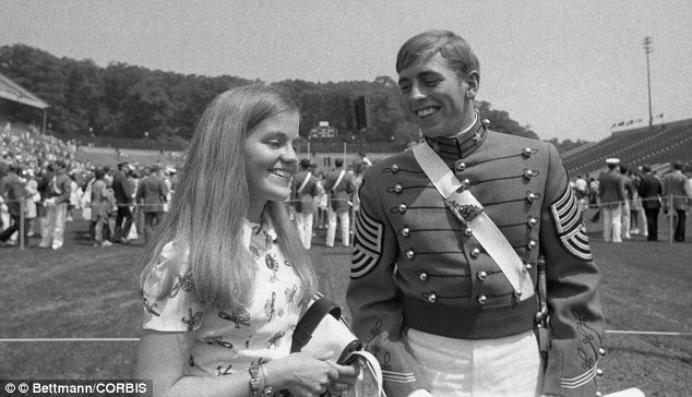 Sweethearts: Petraeus on the day he graduated from the U.S. Military Academy in 1974, pictured with his fiancée Holly Knowlton, whose father was the superintendent of West Point