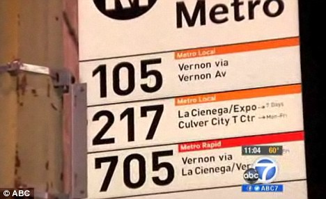 Route: The rape happened on the number 217 Metro Bus stop on La Cienega and Jefferson boulevards