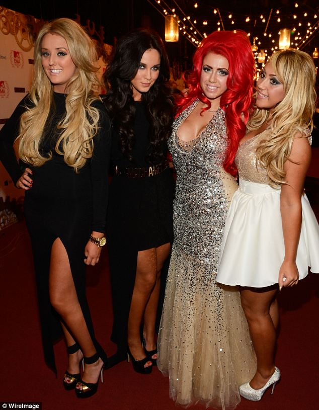 Big Hair: The girls from Geordie Shore dressed up to the nines (L to R) Charlotte-Letitia Crosby, Vicky Pattison, Holly Hagan and Sophie Kasaei