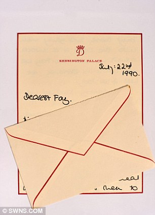 A heartfelt thank you letter from Diana, discussing her visit with Prince William to see Fay and her twin boys and for a birthday present - 'From your devoted Diana' - with original envelope is expected to collect £500 - 700