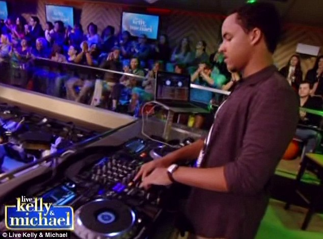 Forging a career: The young DJ played music during the advert breaks, and exchanged a few pleasantries with the hosts