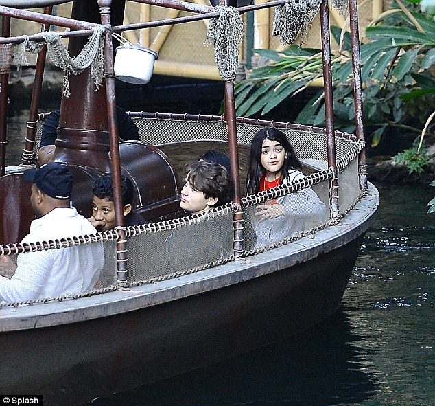 Happiest place: The three siblings, watched over by grandmother Katherine, were last spotted together riding the Jungle Boat Cruise and Splash Mountain at Disneyland over Veteran's Day weekend
