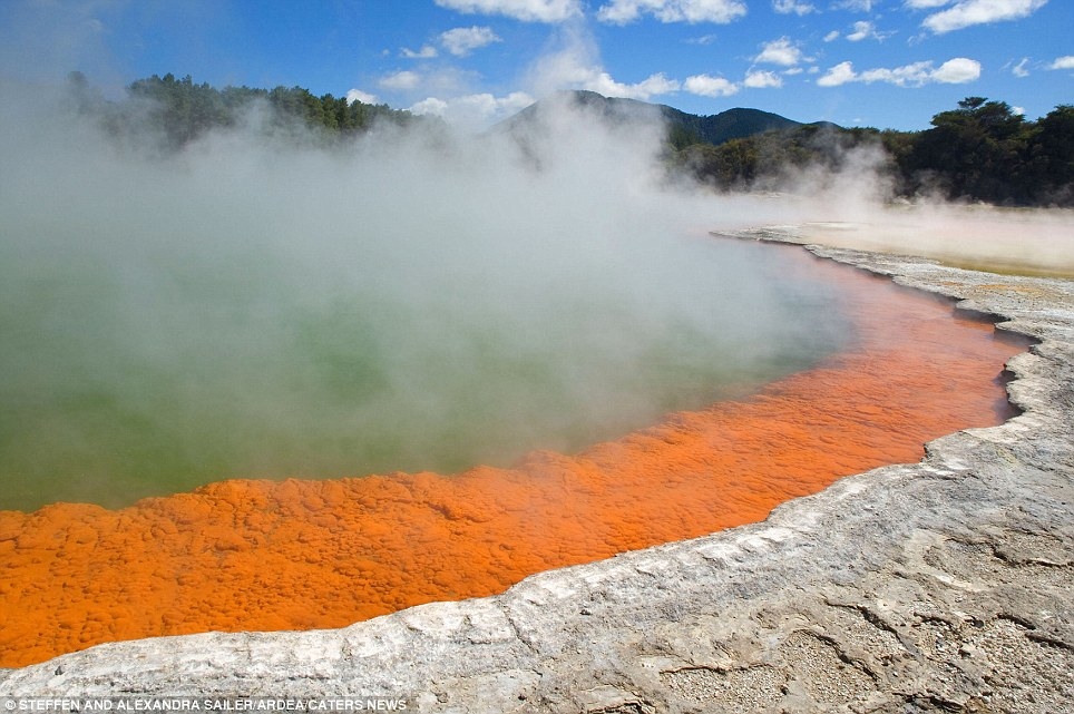 The Champagne Pool: (Waiotapu Geothermal area of New Zealand) A colourful hot spring with a surface temperature of 74 degrees celsius. It bubbles are due to uprising carbon dioxide