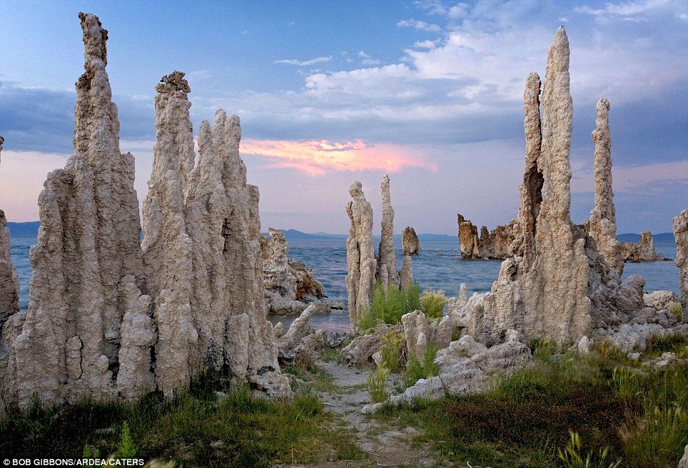 Tufa Pinnacles: (Mono Lake, Sierra Nevada, USA) Mono Lake is a closed hydrological basin meaning water flows into it but it doesn't flow out. The only way for water to leave is through evaporation