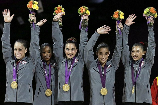 The golden girls: (left to right) Jordyn Wieber, Gabrielle Douglas, McKayla Maroney, Alexandra Raisman, Kyla Ross