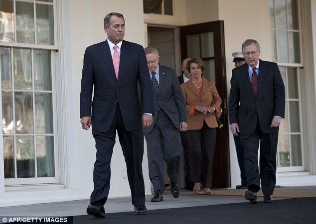 Collaboration: Republicans and Democrats left the meeting together in a show of bipartisanship