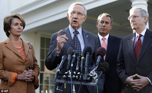 Promise: Democrats Nancy Pelosi and Harry Reid, and Republicans John Boehner and Mitch McConnell, vowed to find a solution which would avoid the U.S. slipping back into recession