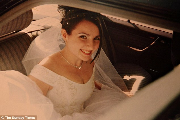 Happy: Aminat Kurbanova, 29, of Dagestan, Russia, is seen smiling on her wedding day in 2003 to Marat Kurbanov. She converted to Islam four years later and blew herself up earlier this year