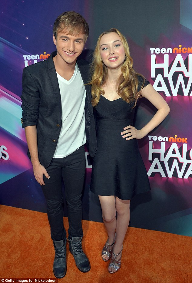 Edgy chic: Lucas Cruikshank pulled off the trendy T-shirt and blazer look while Victory Van Tuyl just looked lovely in her black dress
