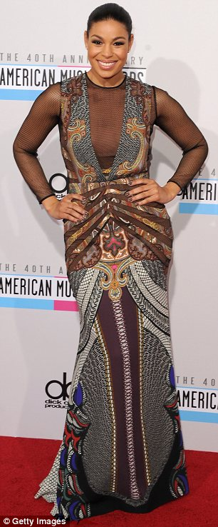 Trying something new: Jordin Sparks decided to show her sexy side in an unusual printed and plunging gown