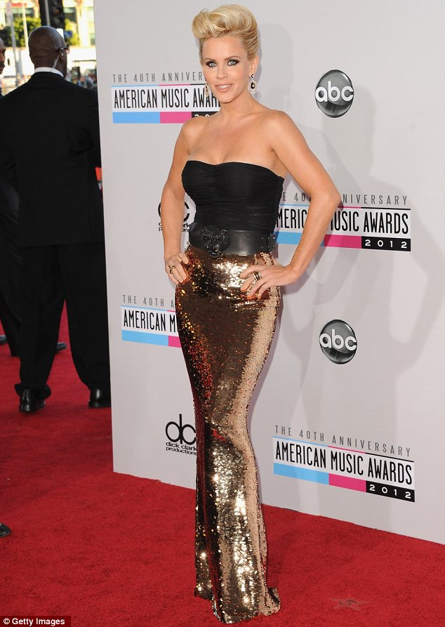 Smoking hot: Jenny McCarthy made for an arresting sight in her sequined skirt and strapless black top