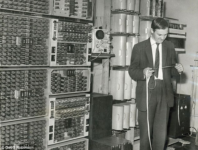 A lecturer checks a punched tape for the 1950s WITCH. Designed for reliability rather than speed, it could carry on relentlessly for days at a time delivering its error-free results
