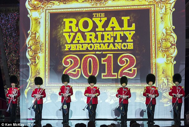 What a night: Soldiers set the scene as they graced the stage in full dress up gear