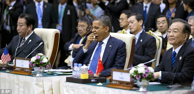 High-powered: The President was sitting between Japanese leader Yoshihiko Noda and China's Wen Jiabao
