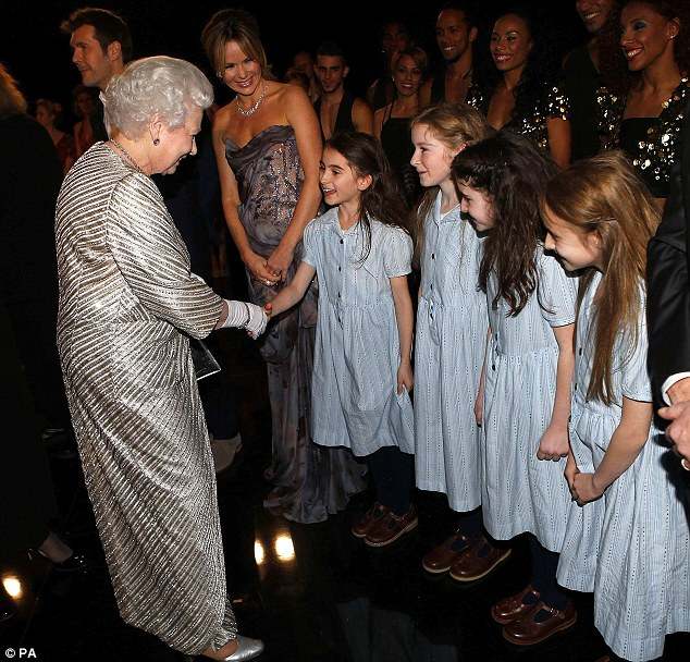 Hello, Yiour Majesty: The Queen greeted performers from the musical adaptation of Matilda