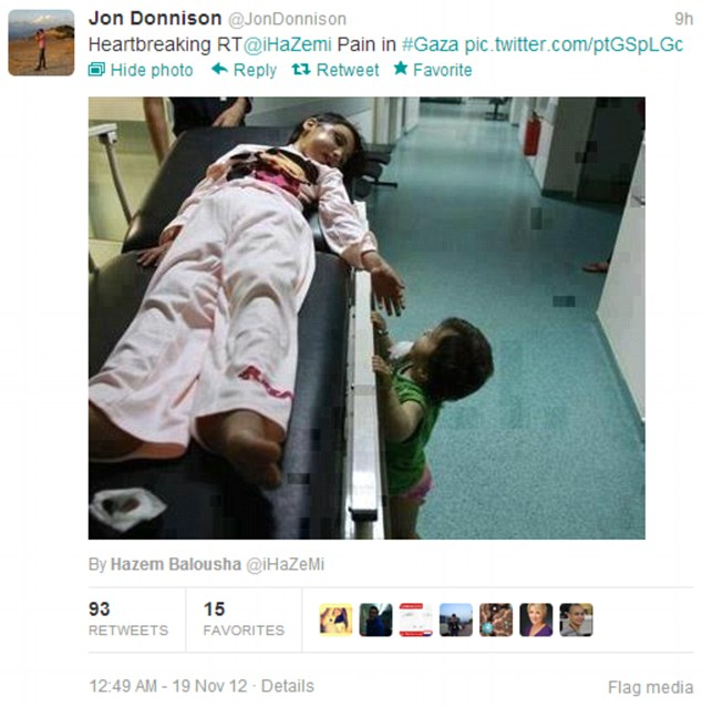 Blunder: This tweet from Jon Donnison caused outrage because the girl pictured was from Syria but it was implied she came from Gaza