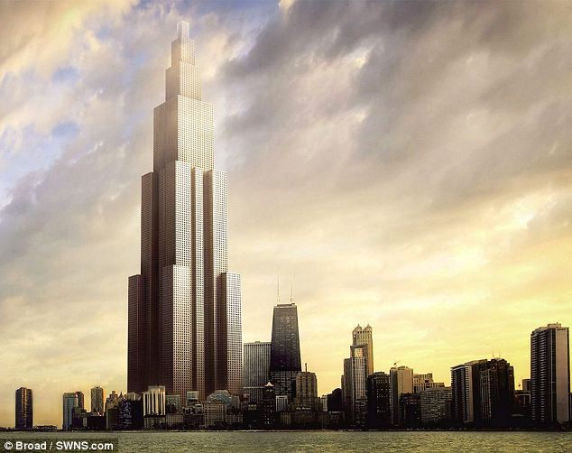 Massive: An artist's impression of the planned 220-storey Sky City building planned for Changsha, south-east China. The mammoth building is planned to be built in only three months