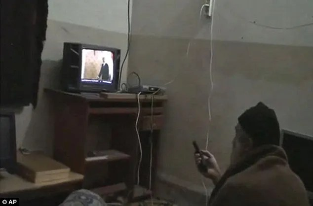 Fallen mastermind: In this undated file image from video seized from bin Laden's walled compound in Abbottabad, Pakistan, the al Qaeda leader watches TV