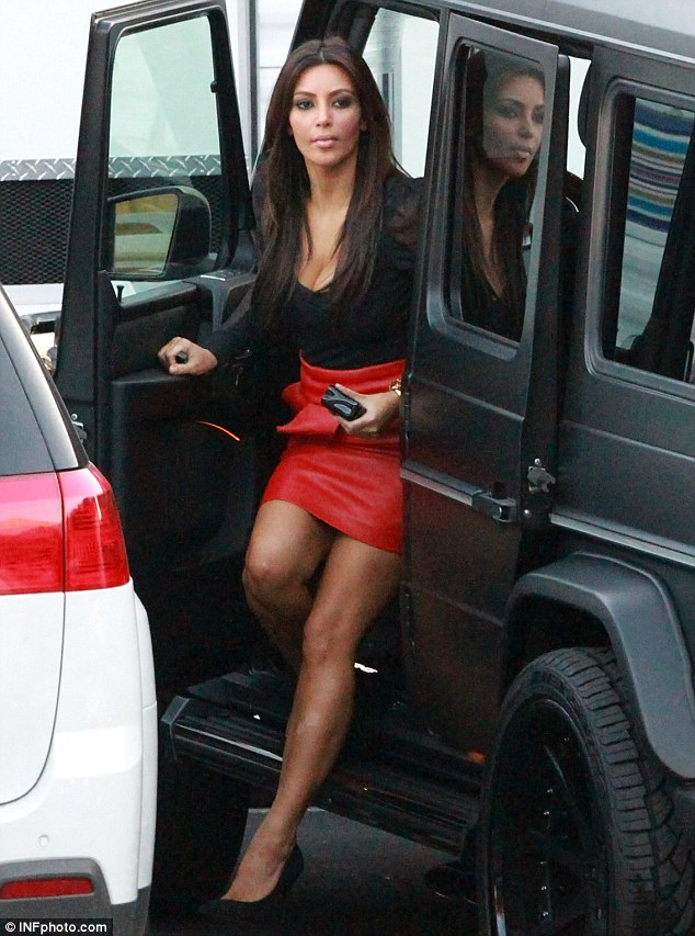 Arriving in style: The reality star arrived in a matte black Mercedes 4WD