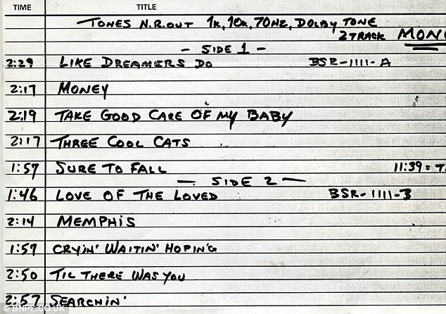 Beatles audition tape songs in order: The track list for the ten songs was recorded in London on New Year's Day