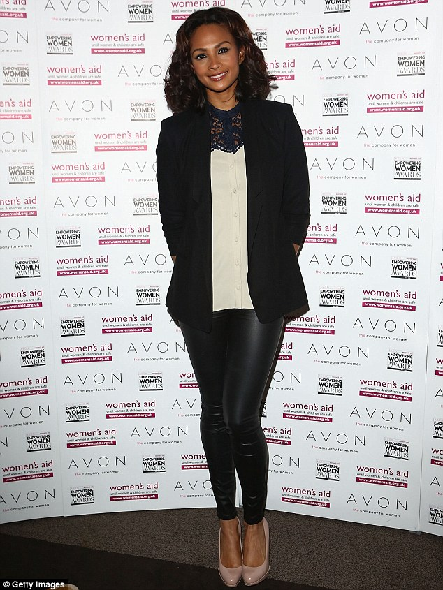Skin-tight: Alesha Dixon wore a pair of leather-look trousers, cream blouse and black blazer to the ceremony