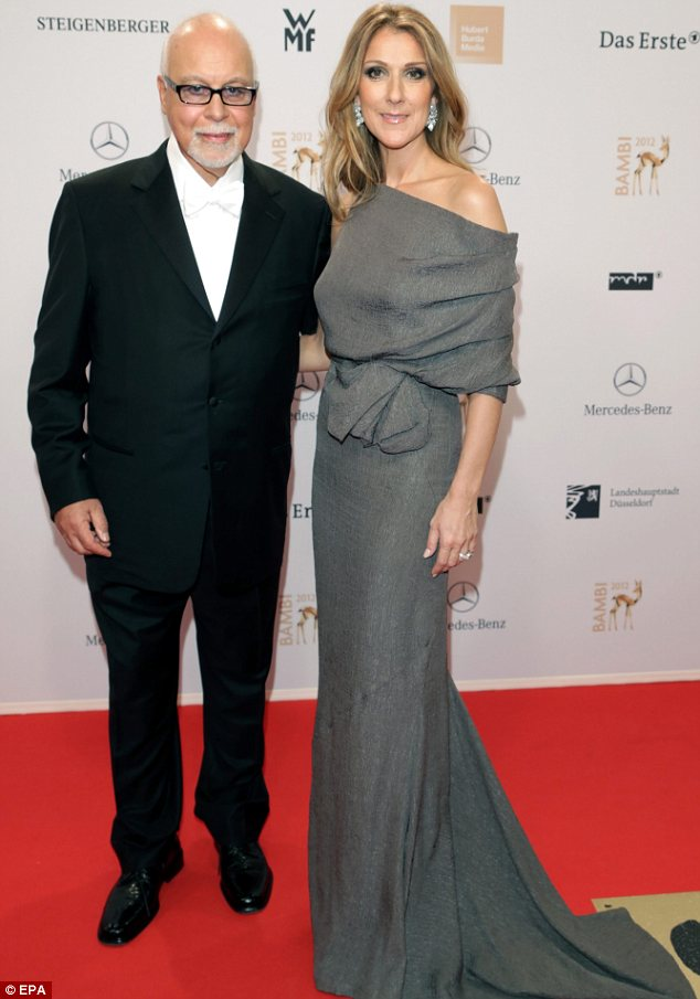 Best supporting husband: Celine was joined on the red carpet by her other half Rene Angelil