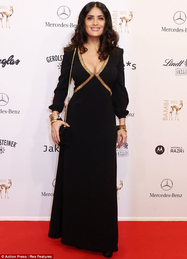Taking the plunge: Salma Hayek was a vision in black and gold at the Bambi Awards in Germany on Thursday