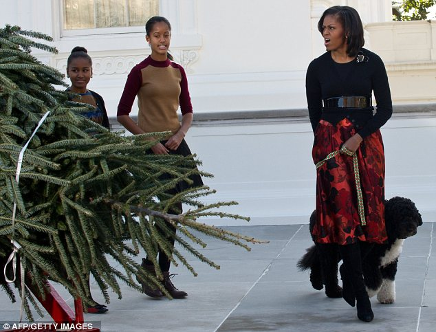 'We can have Christmas now!' Mrs Obama spoke of her delight at the tree's arrival