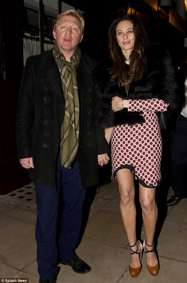 Never too old: Boris Becker celebrates his 45th birthday with his wife, Lilly, in Mayfair on Friday
