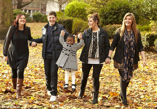 A family of her own: Sasha with adoptive siblings, from left Danielle, Reece, Ashley and Charley