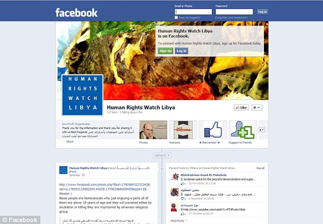 Human Rights Watch Libya (Facebook page pictured) left a comment on the page saying they hope the organisation will not treat the men inhumanely