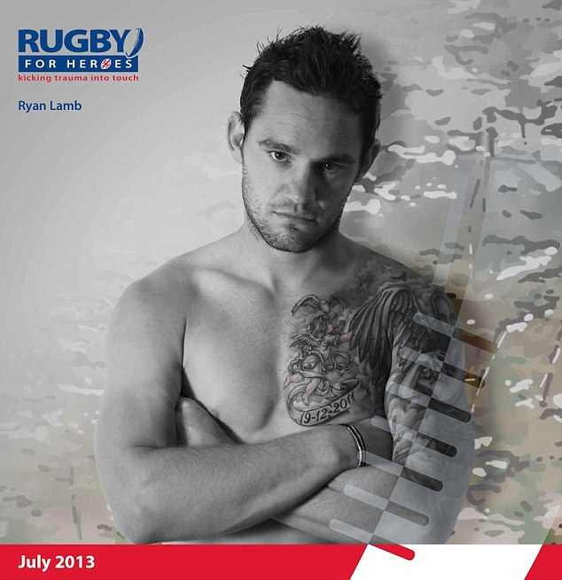 Ryan Lamb strips off to be the July page for the 2013 Rugby For Heroes calendar