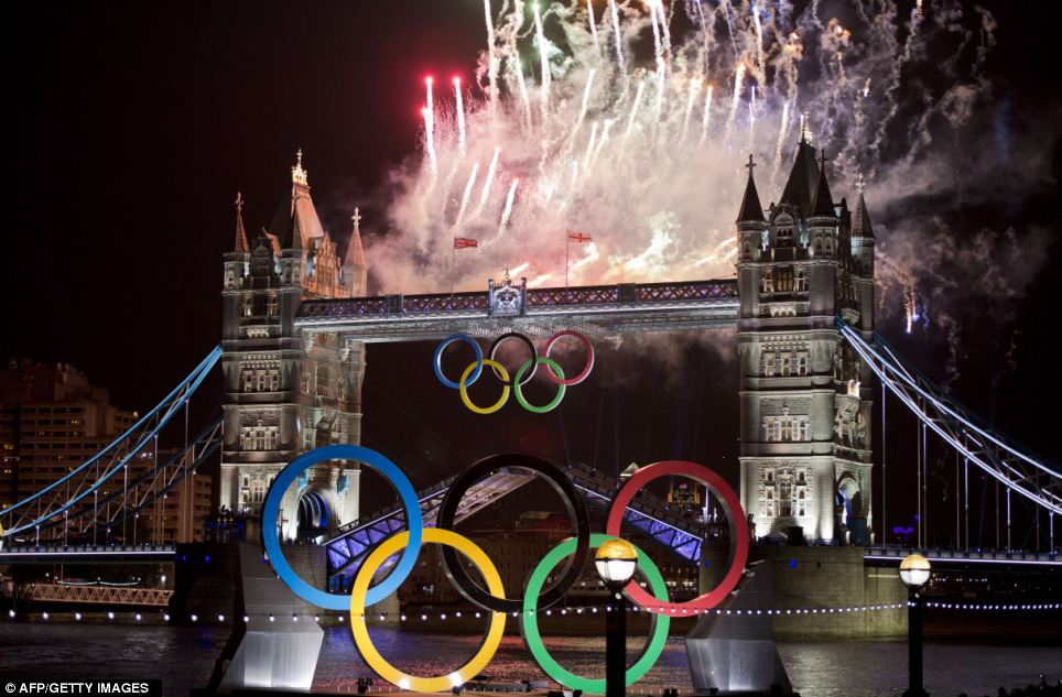 Fireworks explode above Tower Bridge in London to celebrate the opening of the Olympic Games