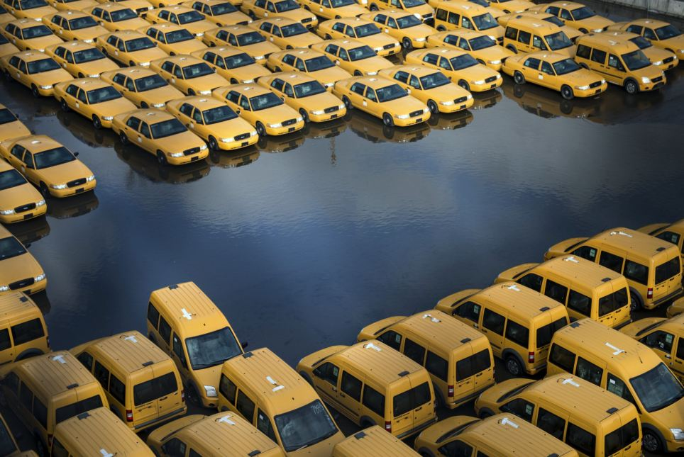 New taxi cabs in a flooded car park in New Jersey after Hurricane Sandy made landfall in October