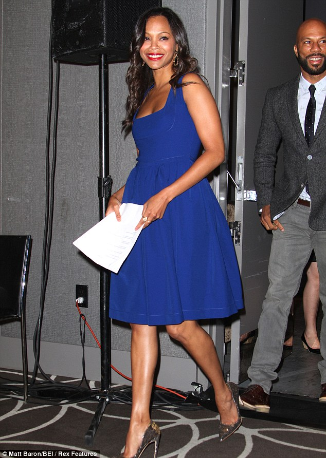 So pretty: Saldana is dating Bradley Cooper whose film Silver Lining Playbook is up for five gongs
