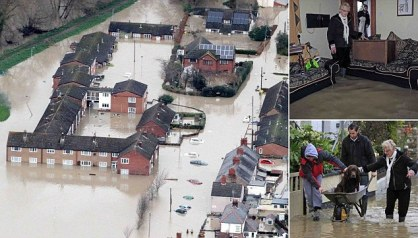 Aerial General Views of The flooded streets of St Asaph, in North Wales, where an evacuation is underway