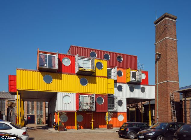 Innovation: Shipping containers have been used as homes in the UK before such as this Container City in London