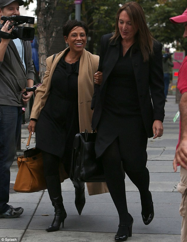 Amicable agreement: Aubry's lawyer Shawn Chapman Holley and Berry's attorney Blair Berk leave court after reaching an amicable agreement on Thursday