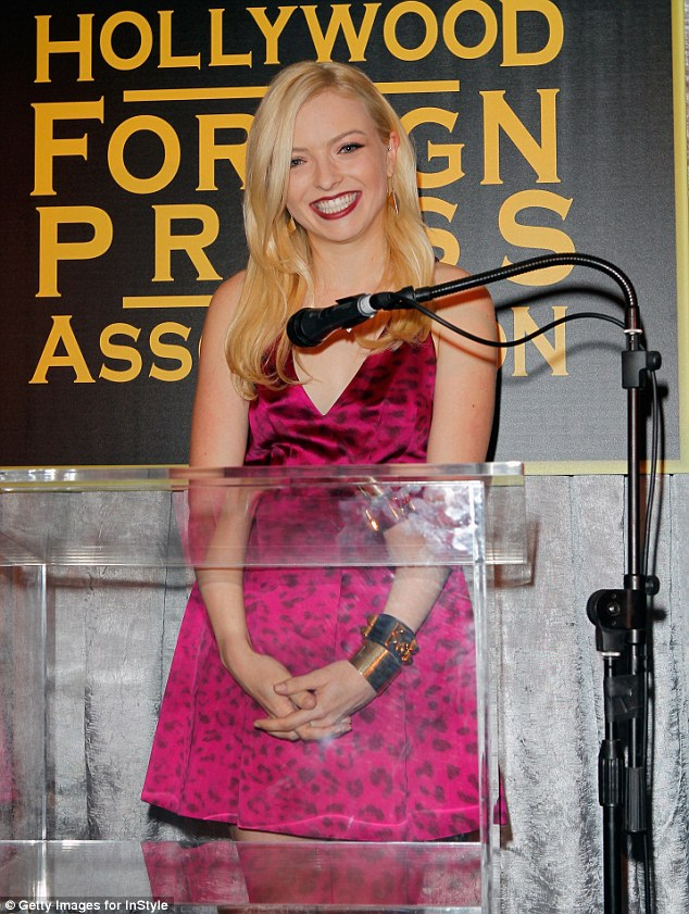 Rising star: Francesca Clintwood was crowned Miss Golden Globes at the party, wearing a hot pink dress