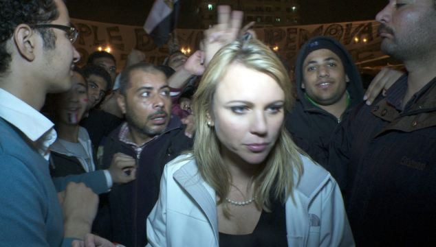 Lara Logan found out first hand the sexually perverted minds of muslims are all about.Terror: CBS Correspondent Lara Logan described her assault by a mob in Tahrir Square as being 'raped with their hands'. This photo was taken moments before the attack