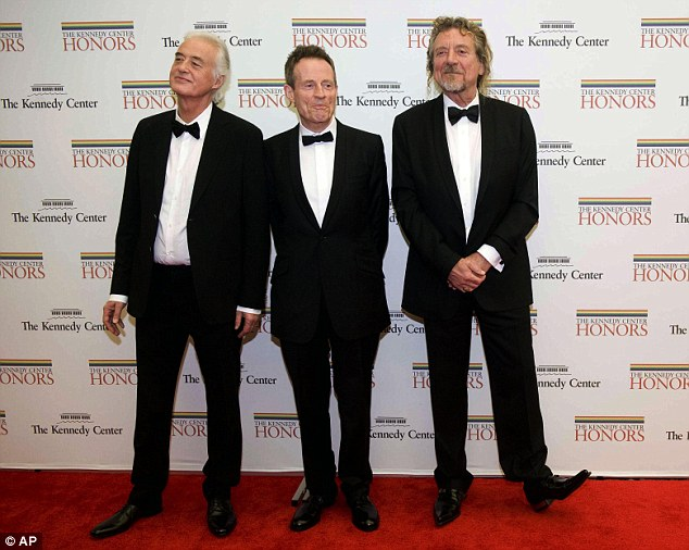 Rock legends: The three original and surviving members of Led Zeppelin Jimmy Page, Paul Jones and Robert Plant. Their iconic band will also be receiving an Honor