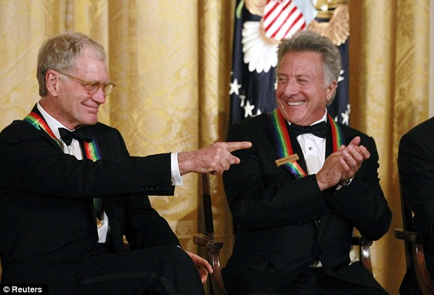 Celebrating: Seven people were honored Sunday night, including late-night TV host David Letterman, left, and actor Dustin Hoffman, right