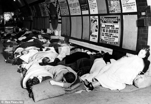 Air raid shelter: Londoners sleeping in Holburn tube station in 1940 during the Blitz in World War II