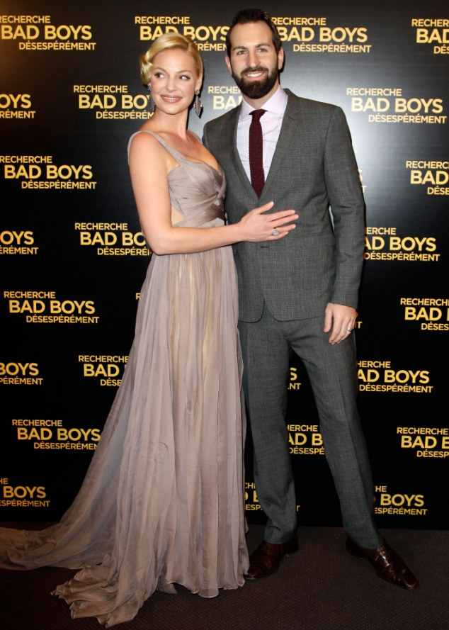 Glamour puss: Heigl and husband Josh Kelley at a screening of her film One for the Money in Paris in January