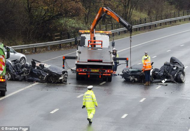 Muslims fight in aftermath of fatal crash.The collision killed two people and injured another four between junctions 4 and 5 of the motorway