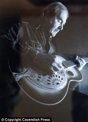 Passion: Chris Dennis continued to play in bands after leaving Pink Floyd, left, and built up a collection of 20 guitars - three of which he put up for auction, right